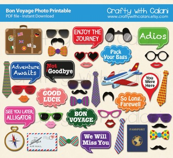 image regarding Printable Photo Props named Farewell Social gathering Printable, Bon Voyage Image Booth Prop