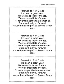 Farewell to First Grade Poem