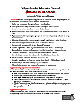 Farewell to manzanar teaching resources teachers pay teachers farewell to manzanar 16 theme related quotations teaching ideas fandeluxe Image collections
