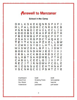 Farewell to Manzanar: 4 Book-Based Word Searches—Fun Filler Activities!