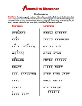 Farewell to Manzanar: 6 Cryptocategory Word Puzzles—Unique Spelling Workout!