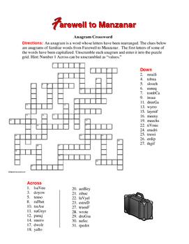 Farewell to Manzanar: Anagram Crossword—Unique Spelling Workout!