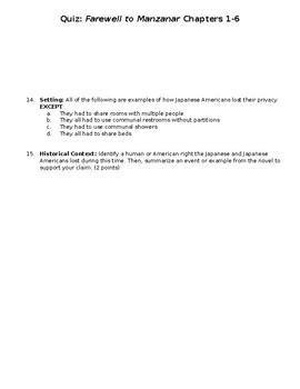 Farewell to Manzanar CH. 1-6 Quiz