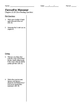 Farewell to Manzanar CH. 12-16 Close Reading Questions