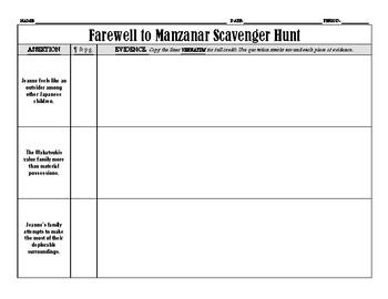Farewell to Manzanar Scavenger Hunt