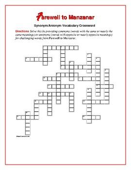 Farewell to Manzanar: Synonym/Antonym Vocab Crossword-Use with Bookmarks Plus!