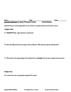 Farewell to Manzanar by Jeanne W. Houston Guided Reading Worksheets by Mrs. Nick