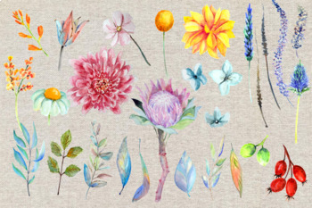 Farewell to Summer - Watercolor Clip Art Set - 35 png