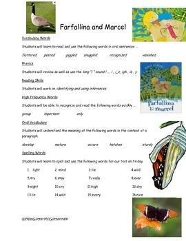Farfallina and Marcel - Weekly Skill Sheet - 2nd Grade Treasures
