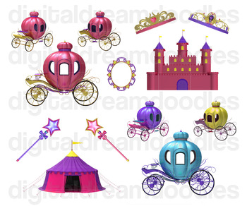 Fariy Tale Clip Art - Princess Carriage and Castle Digital Graphics
