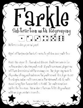 Farkle! - A Subtraction with Regrouping Game