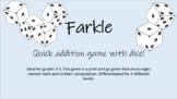 Farkle Addition game, differentiated