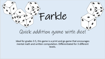 picture regarding Farkle Instructions Printable identify Farkle Addition recreation, differentiated