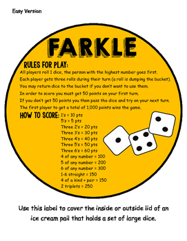 Farkle Math Center Game