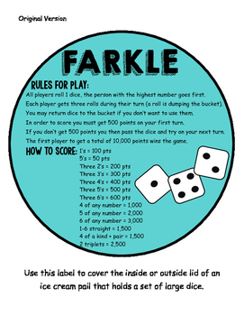 Farkle Math Center Game