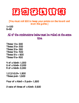 farkle point reference sheet by math in c6 teachers pay teachers