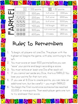 Mesmerizing image for printable farkle rules