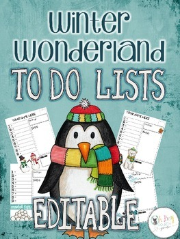 Farley's Winter Wonderland To Do Lists *editable*you customize it*