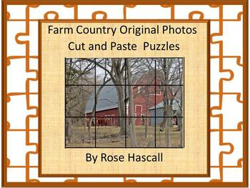 Farm Original Photos Fine Motor Cut and Paste Puzzles Special Education Autism
