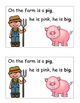 Farm Theme Emergent Reader, Rhyme and Read, Cut and Paste Activities Book