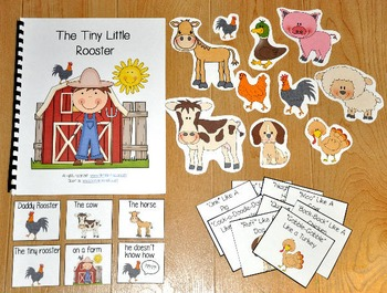 """Farm Adapted Book--""""The Tiny Rooster"""" (w/Wh Questions)"""