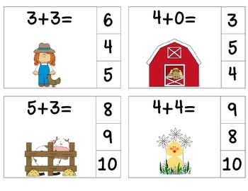 Farm Add & Clip 1-10 (Math Center)