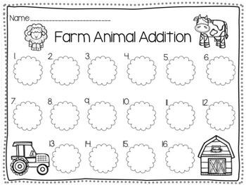 Farm: Addition & Subtraction Write the Room (BUNDLE)