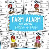 cvc Words - Farm Alarm - Literacy Center Game - Building Words