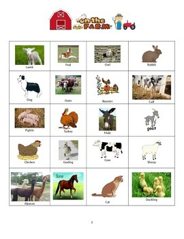 Farm Animal Bingo