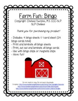 Farm Animal Bingo FREEBIE