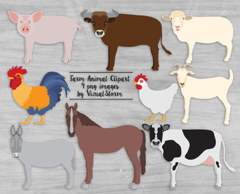 Farm Animal Clipart - Hand Drawn Barnyard Animals Illustration Set