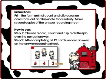 Farm Animal Count and Clip Cards (1-12)