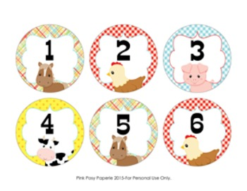Farm Animal Cubby Number Labels 1-30