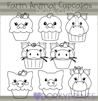 Farm Animal Cupcakes Black Line Clip Art