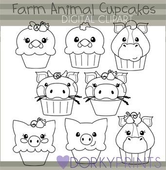 Farm Animal Cupcakes Black Line Clip Art