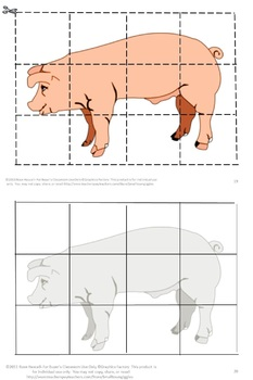 Farm Animal  Cut and Paste Puzzles, Kindergarten, Special Education Math