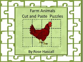 Farm Animal Cut and Paste Printable Puzzles for Centers or