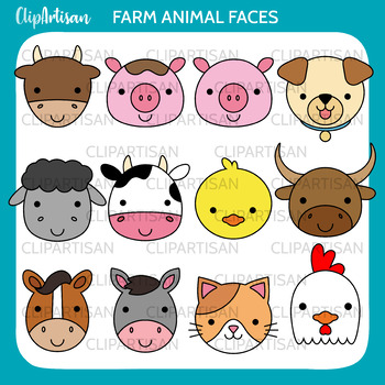 Farm Animals Clip Art, Farmyard Printable by ClipArtisan | TpT