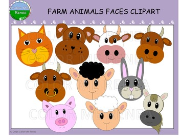 Farm Animal Faces Clipart - Freebie