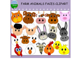 Farm Animal Faces Clipart - Full Set
