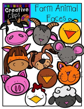 Farm Animal Faces {Creative Clips Digital Clipart}