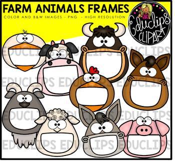 Farm Animal Frames Clip Art Bundle {Educlips Clipart}