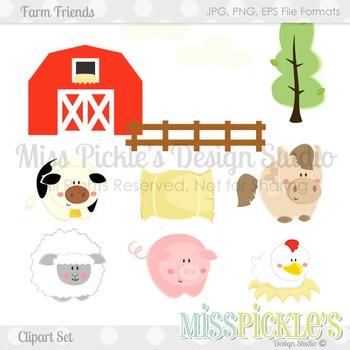 Farm Animal Friends- Commercial Use Clipart Set