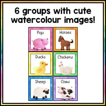 Farm Animal Group Labels - Rainbow Watercolor Decor