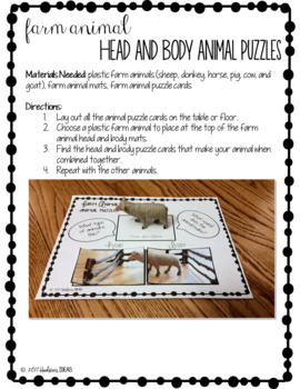 Farm Animal Head and Body Matching Puzzles