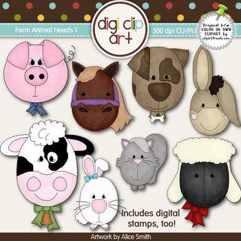 Farm Animal Heads 1-  Digi Clip Art/Digital Stamps - CU Clip Art