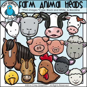 Farm Animal Heads Clip Art Set - Chirp Graphics