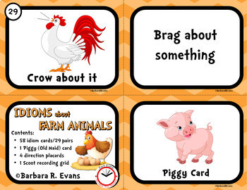 IDIOM TASK CARDS Farm Animal Idioms Idioms Activity Literacy Center Games
