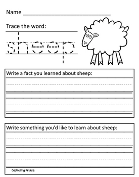 Farm Animal Informational Text Response Sheets