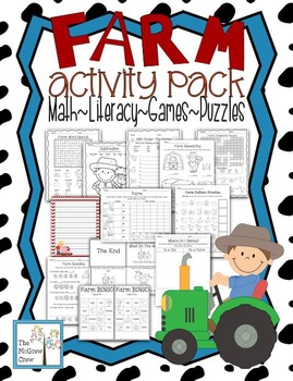 Farm Animal Activity Pack Math Literacy Games Puzzles Writing Centers K-1